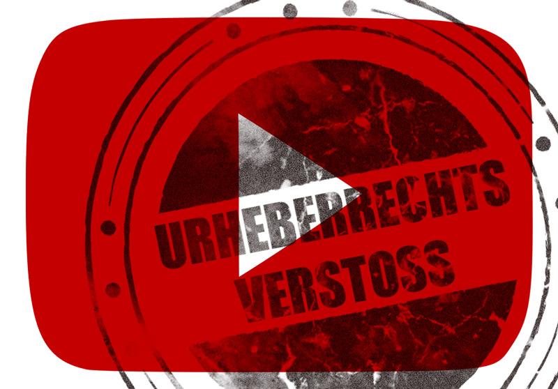 """Collage aus YouTube-Symbol (weißes Play-Dreieck auf roter TV-förmiger Fläche) und überlagertem Stempelabdruck """"Urheberrechts-Verstoss"""""""