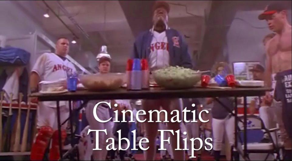 """Standbild aus Supercut: Mann ist kurz davor, eine Tisch umzuwerfen; Texteinblendung in der unteren Bildhälfte """"Cinematic Table Flips"""""""