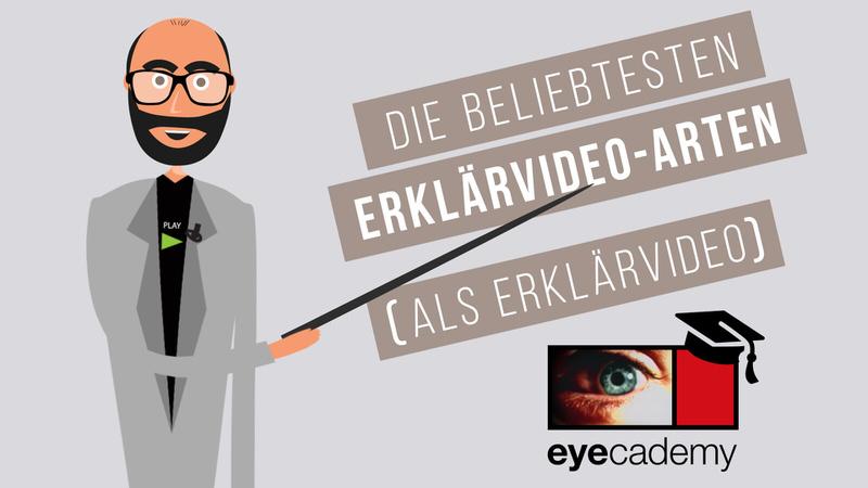 Standbild aus eyecademy-Film: Moderator in Cartoon-Version zeigt auf Titel des Beitrags