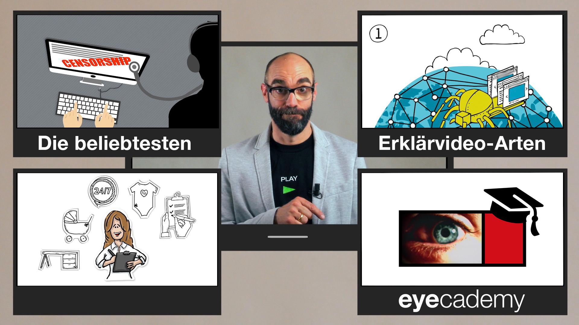 Video-Thumbnail des Erklärvideos: Moderator umgeben von 3 Erklärvideo-Standbildern und dem eyecademy-Logo