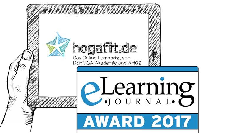 Logos: hogafit.de - Das Online-Lernportal von DEHOGA Akademie und AHGZ - eLearning Journal AWARD 2017