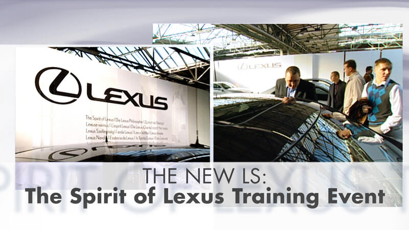 "Video-Thumbnail des Case-Videos: Zwei Bilder vom Event als Splitscreen und Typo ""THE NEW LS: The Spirit of Lexus Training Event"""