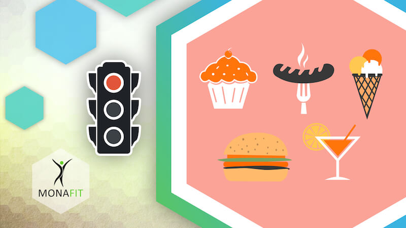 Video-Thumbnail des Erklärvideos: Verkehrsampel zeigt 'Rot' - rechts daneben Illustrationen: Cupcake, Bratwurst, Eistüte, Hamburger, Cocktail - unten links das Monafit-Logo