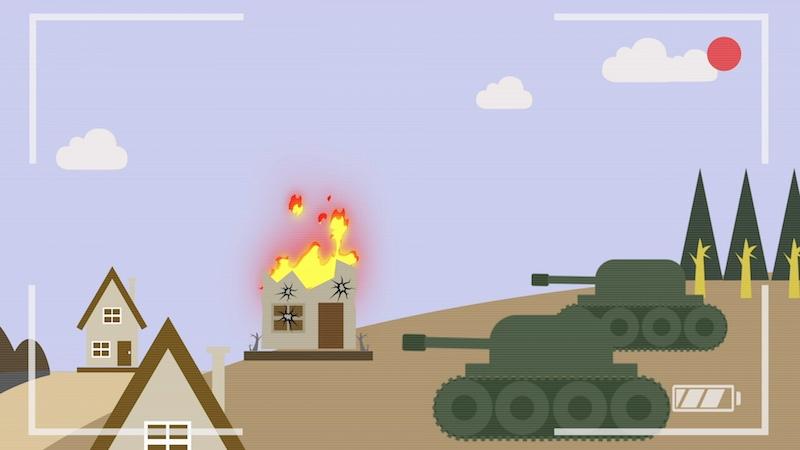Video-Thumbnail aus Erklärvideo: Kamerasucherbild zwei Panzer mit drei Häusern, eins davon ist zerstört und brennt