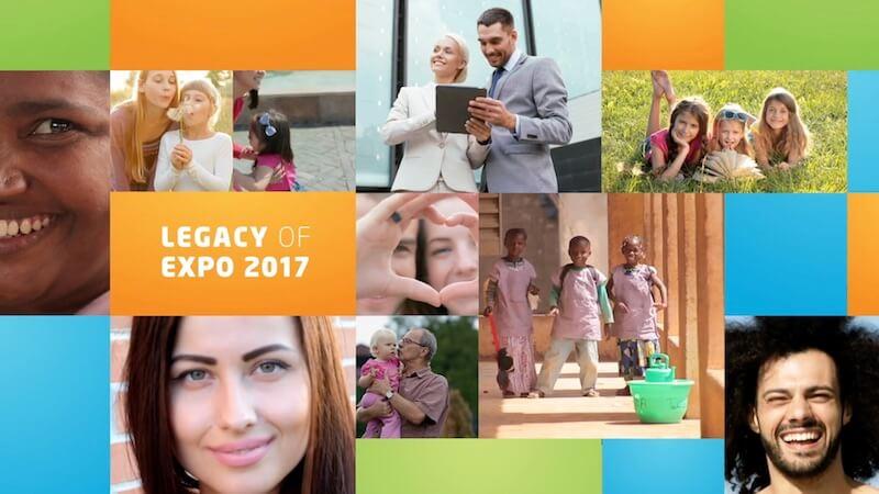 Video-Thumbnail des Promotrailers: Bildkachel mit kasachischen Menschen und dem Text Expo 2017 Legacy
