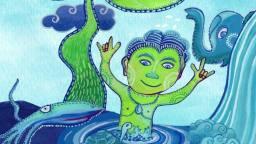 Standbild aus Animationsfilm: gezeichnete Figur im Wasser