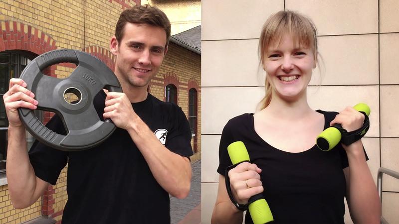 Zwei Standbilder aus Imagefilm: links Trainer Philipp mit Hantelgewicht, rechts T