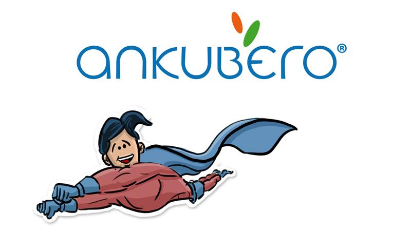 Video-Thumbnail von Firmenvideo im Erklärvideo-Stil: oben ANKUBERO-Logo, unten fliegende Superhelden-Figur